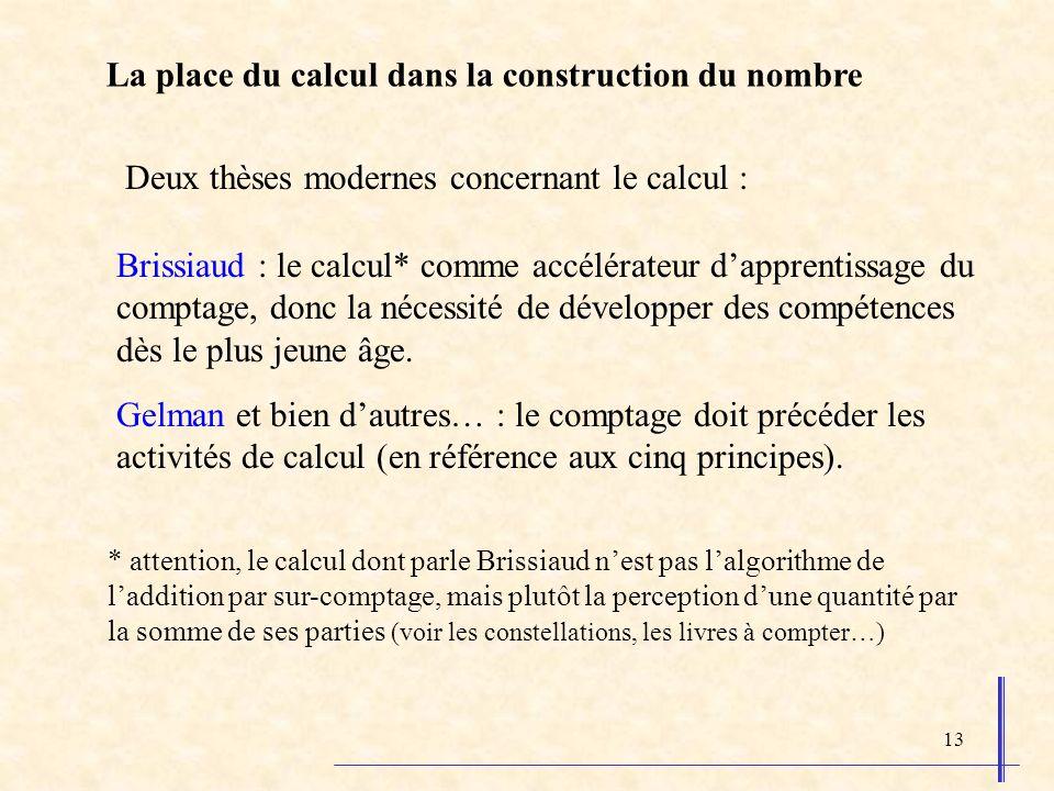 13 La place du calcul dans la construction du nombre Deux thèses modernes concernant le calcul : Brissiaud : le calcul* comme accélérateur dapprentiss