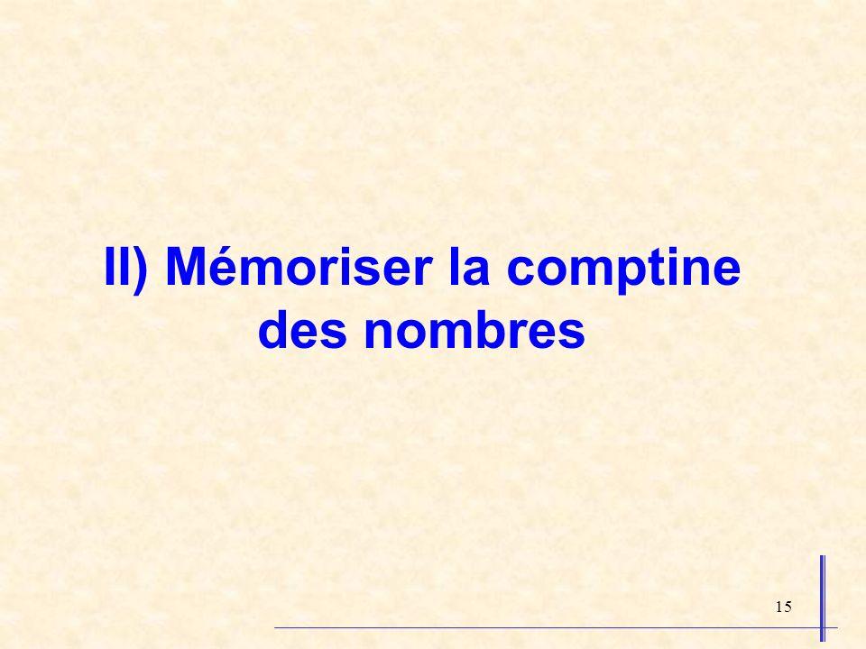 15 II) Mémoriser la comptine des nombres