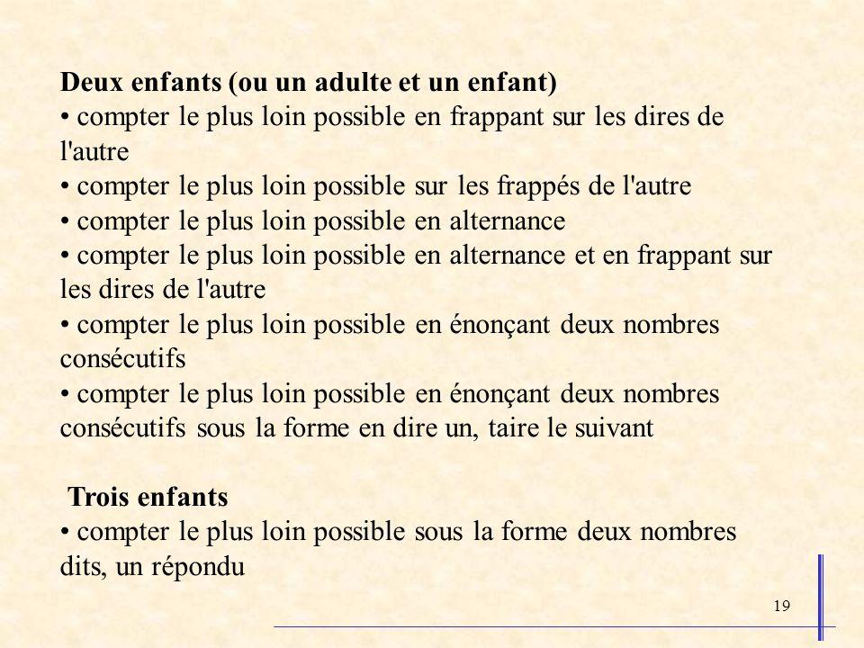 19 Deux enfants (ou un adulte et un enfant) compter le plus loin possible en frappant sur les dires de l'autre compter le plus loin possible sur les f