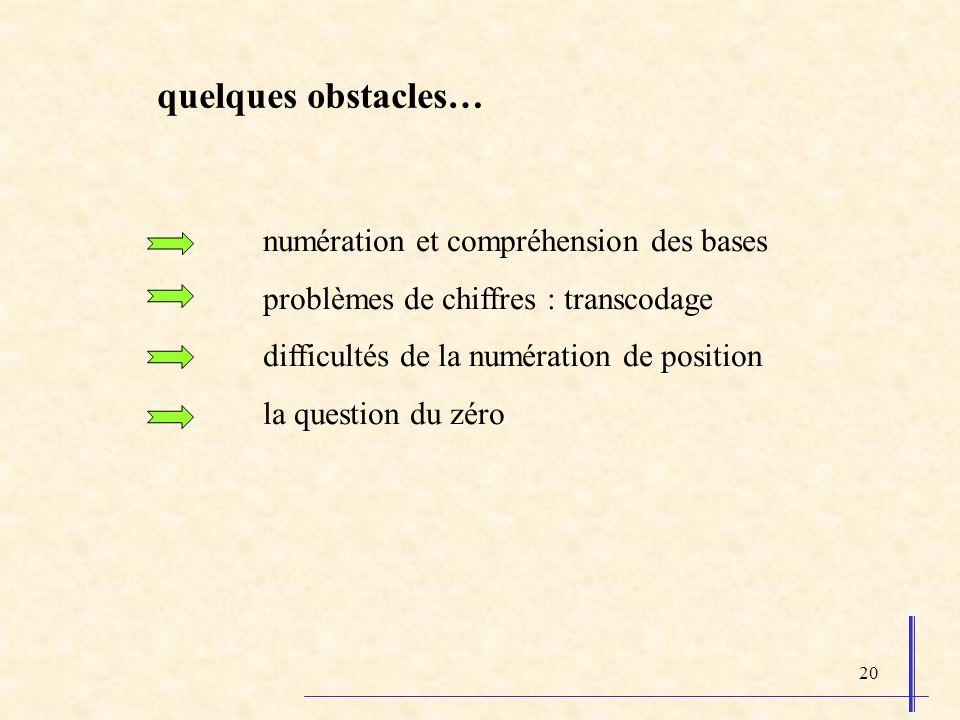 20 numération et compréhension des bases problèmes de chiffres : transcodage difficultés de la numération de position la question du zéro quelques obs
