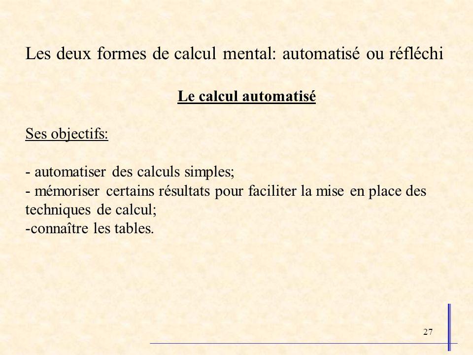 27 Les deux formes de calcul mental: automatisé ou réfléchi Le calcul automatisé Ses objectifs: - automatiser des calculs simples; - mémoriser certain