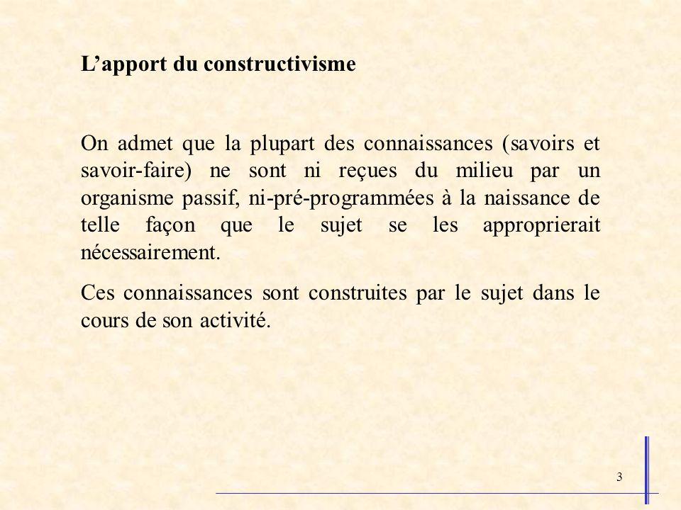 4 Piaget, Szeminska, 1941 sujet milieu (d apprentissage) équilibre élément nouveau assimilation accommodation organisation équilibration Stades de développement = Stades dapprentissages