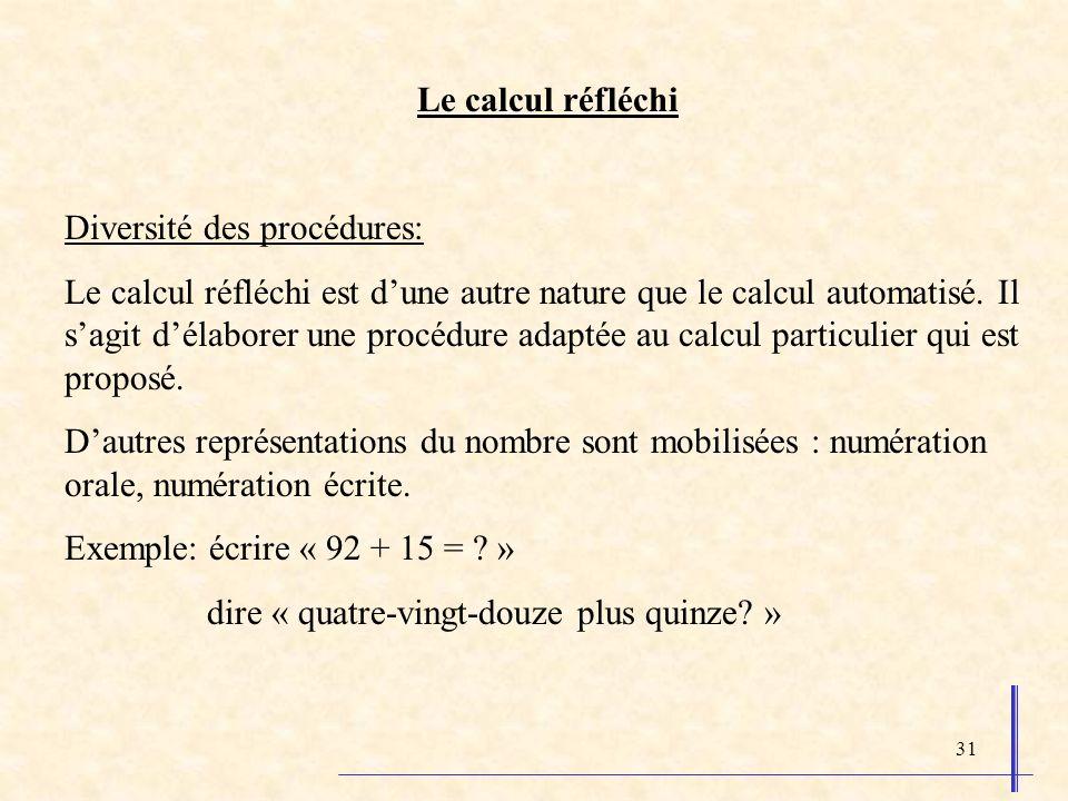 31 Le calcul réfléchi Diversité des procédures: Le calcul réfléchi est dune autre nature que le calcul automatisé. Il sagit délaborer une procédure ad