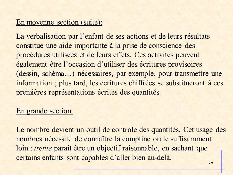37 En moyenne section (suite): La verbalisation par lenfant de ses actions et de leurs résultats constitue une aide importante à la prise de conscienc