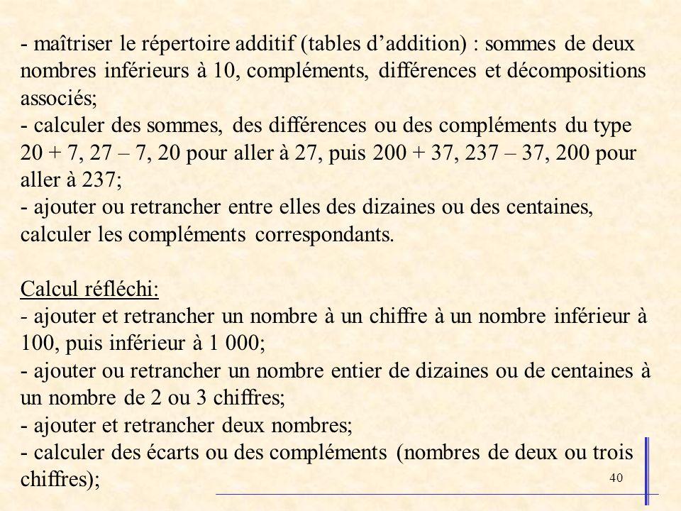 40 - maîtriser le répertoire additif (tables daddition) : sommes de deux nombres inférieurs à 10, compléments, différences et décompositions associés;