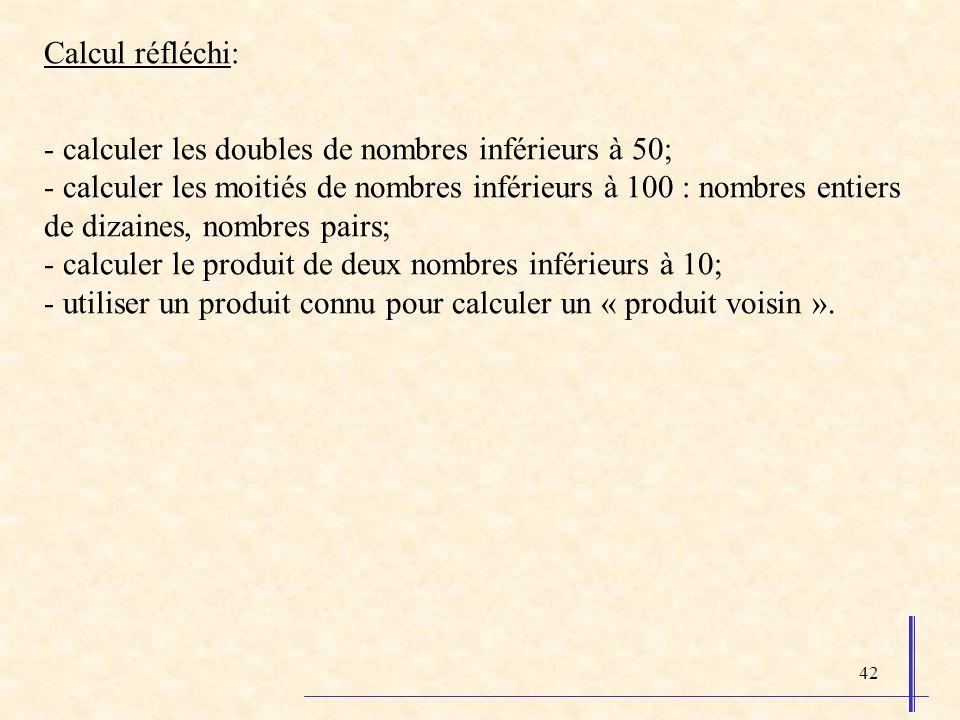 42 Calcul réfléchi: - calculer les doubles de nombres inférieurs à 50; - calculer les moitiés de nombres inférieurs à 100 : nombres entiers de dizaine