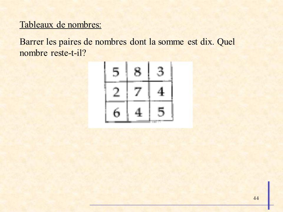 44 Tableaux de nombres: Barrer les paires de nombres dont la somme est dix. Quel nombre reste-t-il?