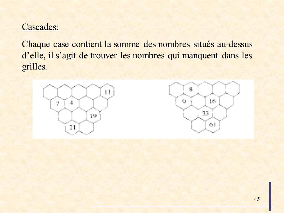 45 Cascades: Chaque case contient la somme des nombres situés au-dessus delle, il sagit de trouver les nombres qui manquent dans les grilles.