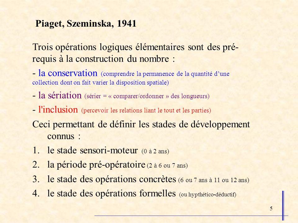 5 Piaget, Szeminska, 1941 Trois opérations logiques élémentaires sont des pré- requis à la construction du nombre : - la conservation (comprendre la p