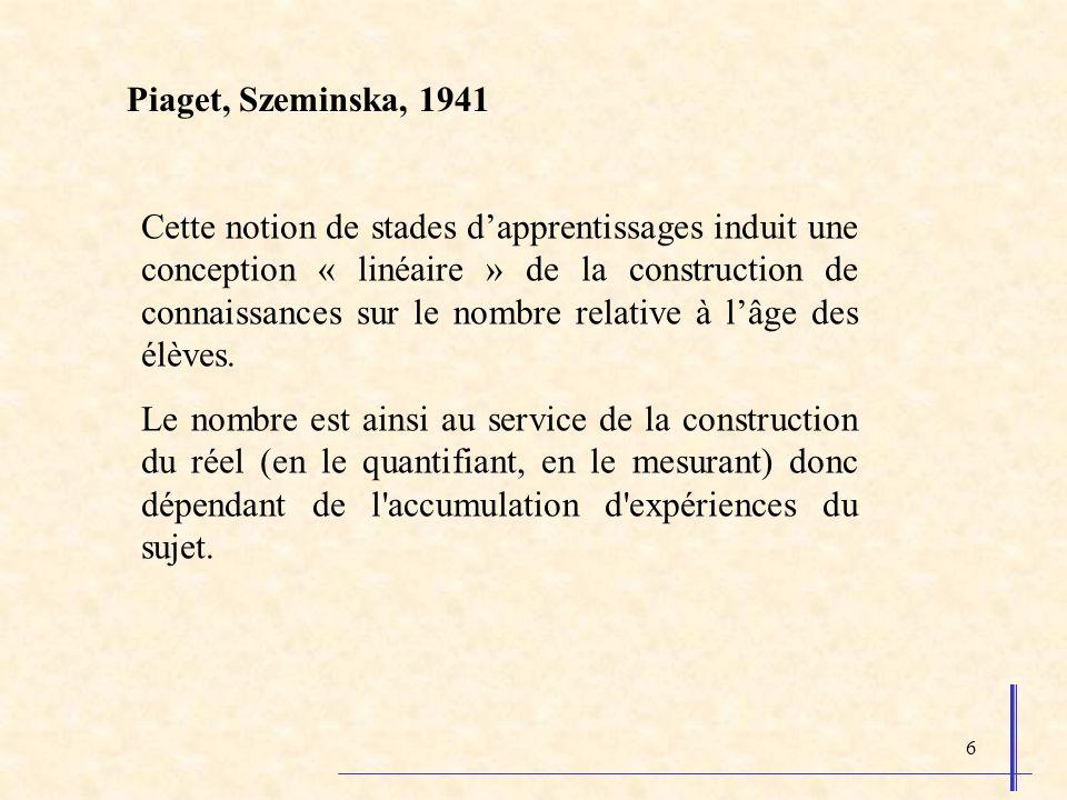 6 Piaget, Szeminska, 1941 Cette notion de stades dapprentissages induit une conception « linéaire » de la construction de connaissances sur le nombre