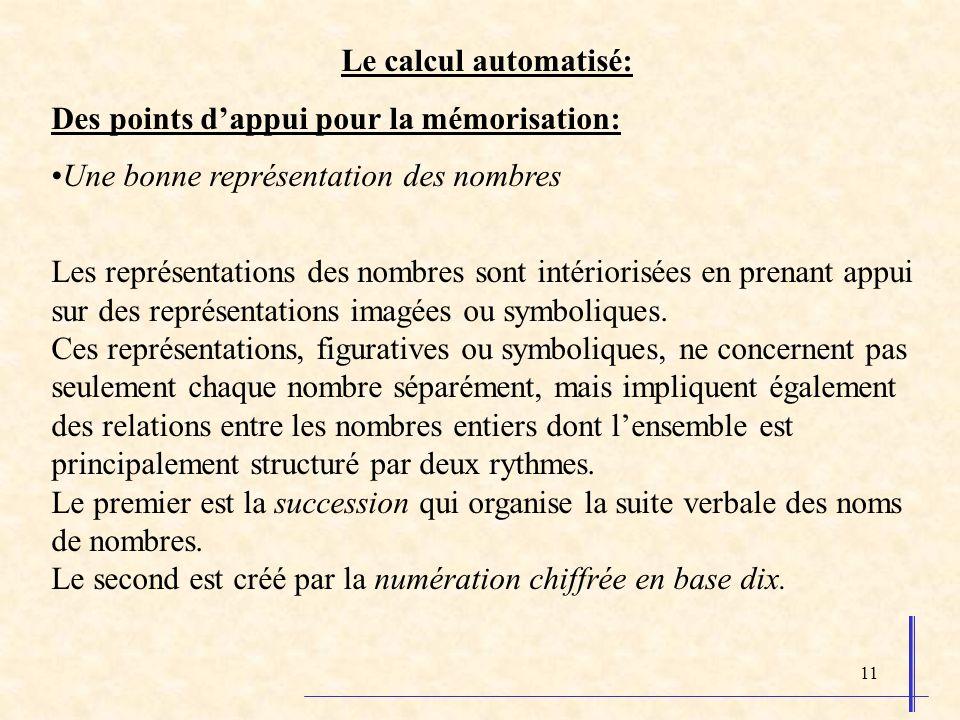 11 Le calcul automatisé: Des points dappui pour la mémorisation: Une bonne représentation des nombres Les représentations des nombres sont intériorisées en prenant appui sur des représentations imagées ou symboliques.