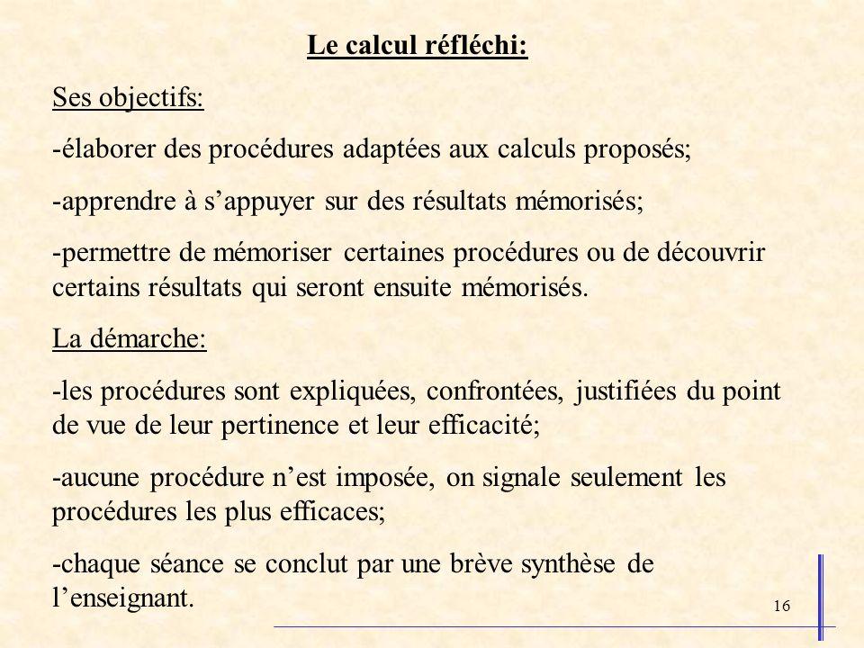 16 Le calcul réfléchi: Ses objectifs: -élaborer des procédures adaptées aux calculs proposés; -apprendre à sappuyer sur des résultats mémorisés; -perm