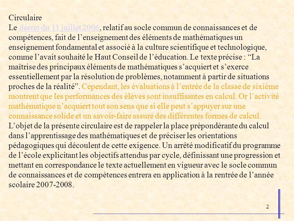 2 Circulaire Le décret du 11 juillet 2006, relatif au socle commun de connaissances et de compétences, fait de lenseignement des éléments de mathématiques un enseignement fondamental et associé à la culture scientifique et technologique, comme lavait souhaité le Haut Conseil de léducation.