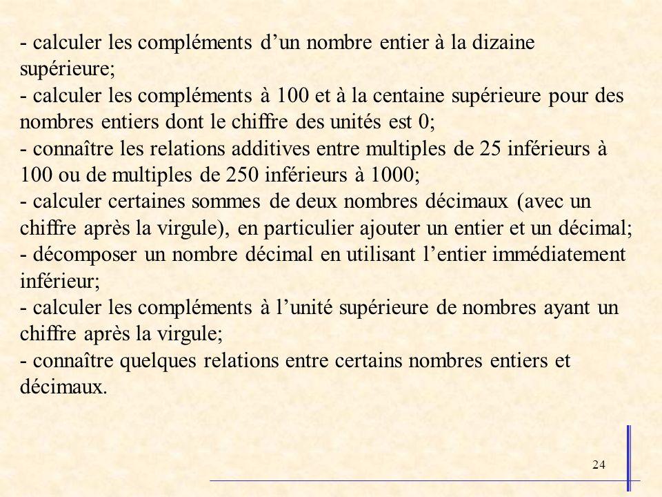 24 - calculer les compléments dun nombre entier à la dizaine supérieure; - calculer les compléments à 100 et à la centaine supérieure pour des nombres entiers dont le chiffre des unités est 0; - connaître les relations additives entre multiples de 25 inférieurs à 100 ou de multiples de 250 inférieurs à 1000; - calculer certaines sommes de deux nombres décimaux (avec un chiffre après la virgule), en particulier ajouter un entier et un décimal; - décomposer un nombre décimal en utilisant lentier immédiatement inférieur; - calculer les compléments à lunité supérieure de nombres ayant un chiffre après la virgule; - connaître quelques relations entre certains nombres entiers et décimaux.