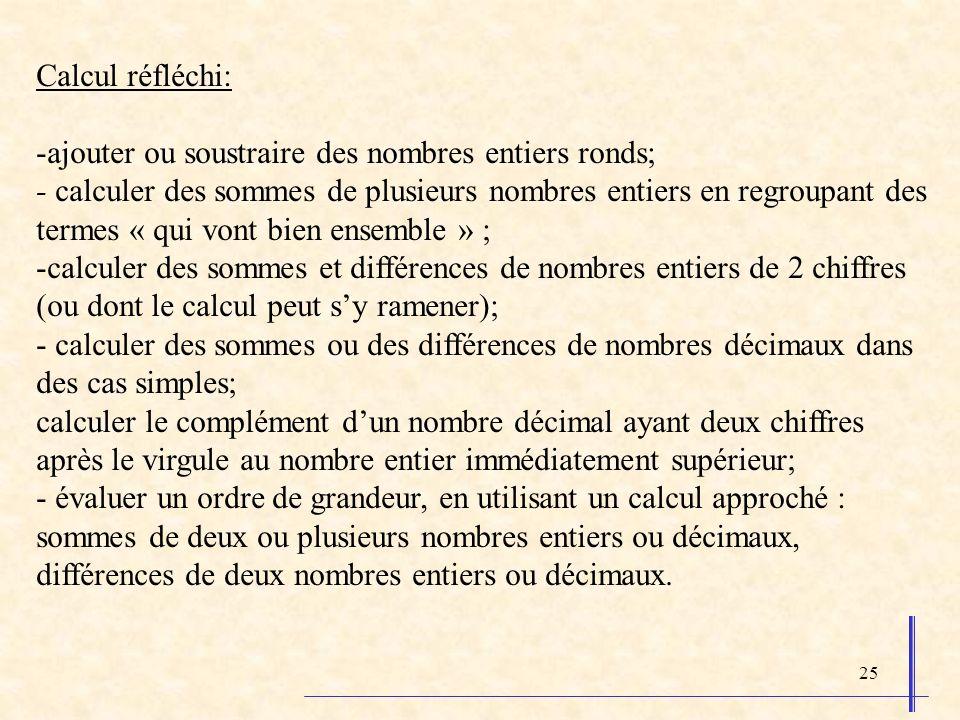 25 Calcul réfléchi: -ajouter ou soustraire des nombres entiers ronds; - calculer des sommes de plusieurs nombres entiers en regroupant des termes « qui vont bien ensemble » ; -calculer des sommes et différences de nombres entiers de 2 chiffres (ou dont le calcul peut sy ramener); - calculer des sommes ou des différences de nombres décimaux dans des cas simples; calculer le complément dun nombre décimal ayant deux chiffres après le virgule au nombre entier immédiatement supérieur; - évaluer un ordre de grandeur, en utilisant un calcul approché : sommes de deux ou plusieurs nombres entiers ou décimaux, différences de deux nombres entiers ou décimaux.