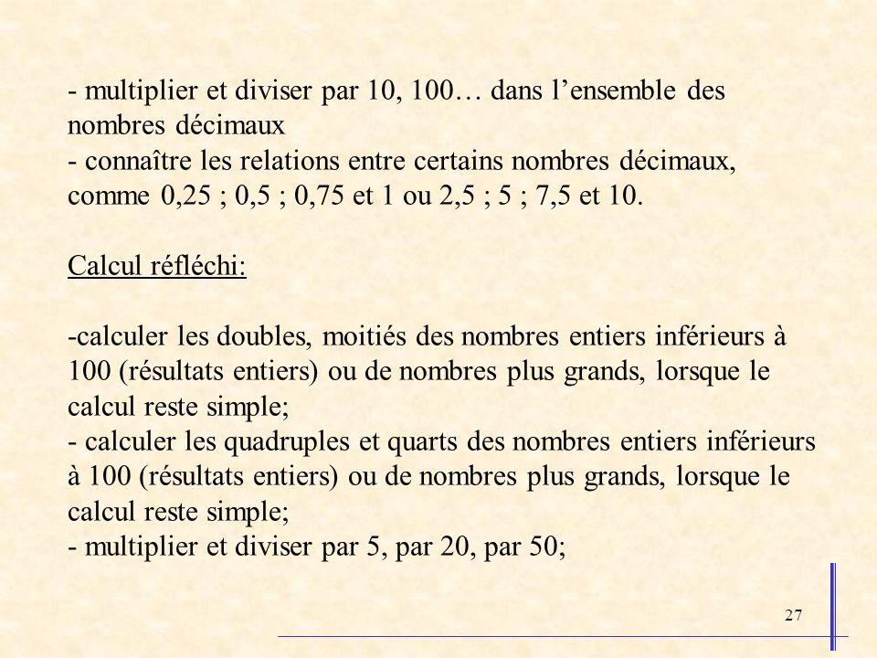 27 - multiplier et diviser par 10, 100… dans lensemble des nombres décimaux - connaître les relations entre certains nombres décimaux, comme 0,25 ; 0,5 ; 0,75 et 1 ou 2,5 ; 5 ; 7,5 et 10.