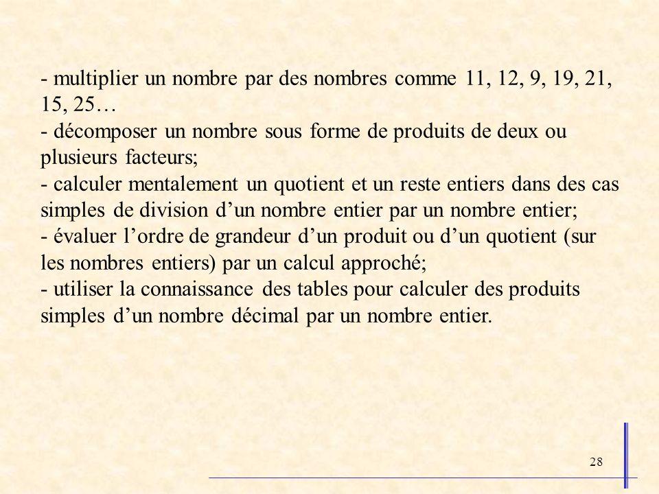 28 - multiplier un nombre par des nombres comme 11, 12, 9, 19, 21, 15, 25… - décomposer un nombre sous forme de produits de deux ou plusieurs facteurs; - calculer mentalement un quotient et un reste entiers dans des cas simples de division dun nombre entier par un nombre entier; - évaluer lordre de grandeur dun produit ou dun quotient (sur les nombres entiers) par un calcul approché; - utiliser la connaissance des tables pour calculer des produits simples dun nombre décimal par un nombre entier.