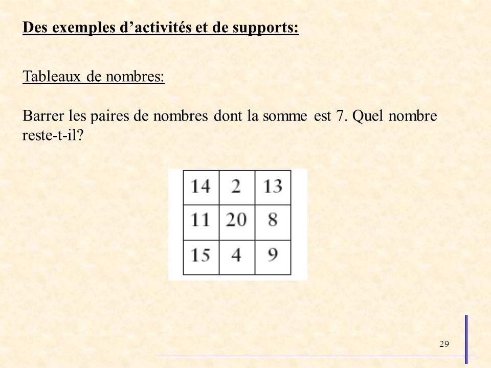 29 Des exemples dactivités et de supports: Tableaux de nombres: Barrer les paires de nombres dont la somme est 7. Quel nombre reste-t-il?