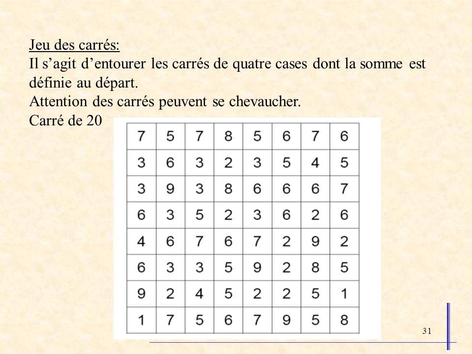 31 Jeu des carrés: Il sagit dentourer les carrés de quatre cases dont la somme est définie au départ. Attention des carrés peuvent se chevaucher. Carr