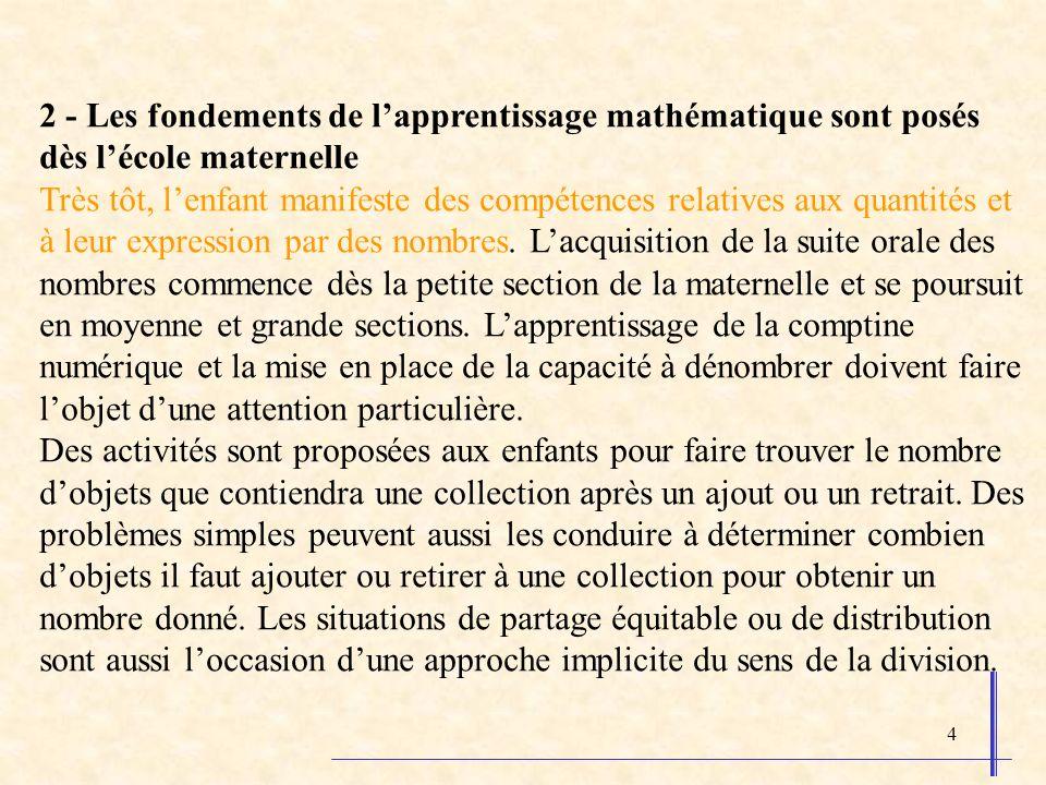 4 2 - Les fondements de lapprentissage mathématique sont posés dès lécole maternelle Très tôt, lenfant manifeste des compétences relatives aux quantités et à leur expression par des nombres.