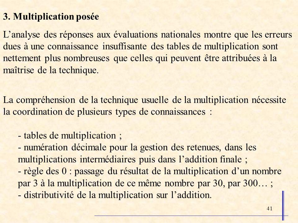 41 3. Multiplication posée Lanalyse des réponses aux évaluations nationales montre que les erreurs dues à une connaissance insuffisante des tables de
