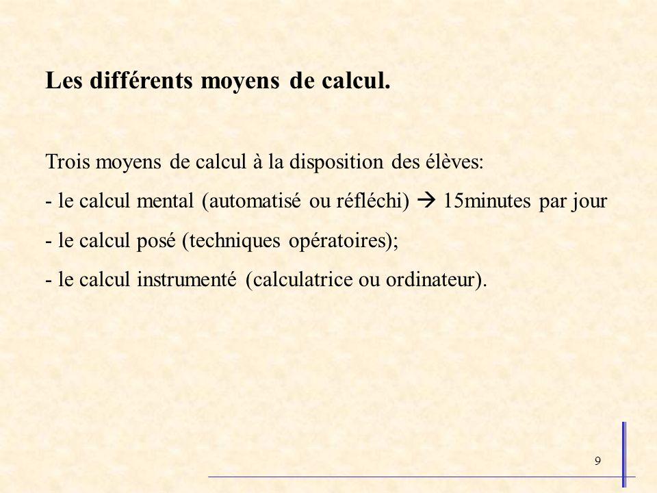 9 Les différents moyens de calcul.