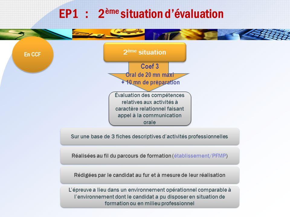 EP1 : 1 ère situation dévaluation En CCF Coef 3 1 ère situation Évaluation des compétences relatives aux activités à caractère technique et organisati