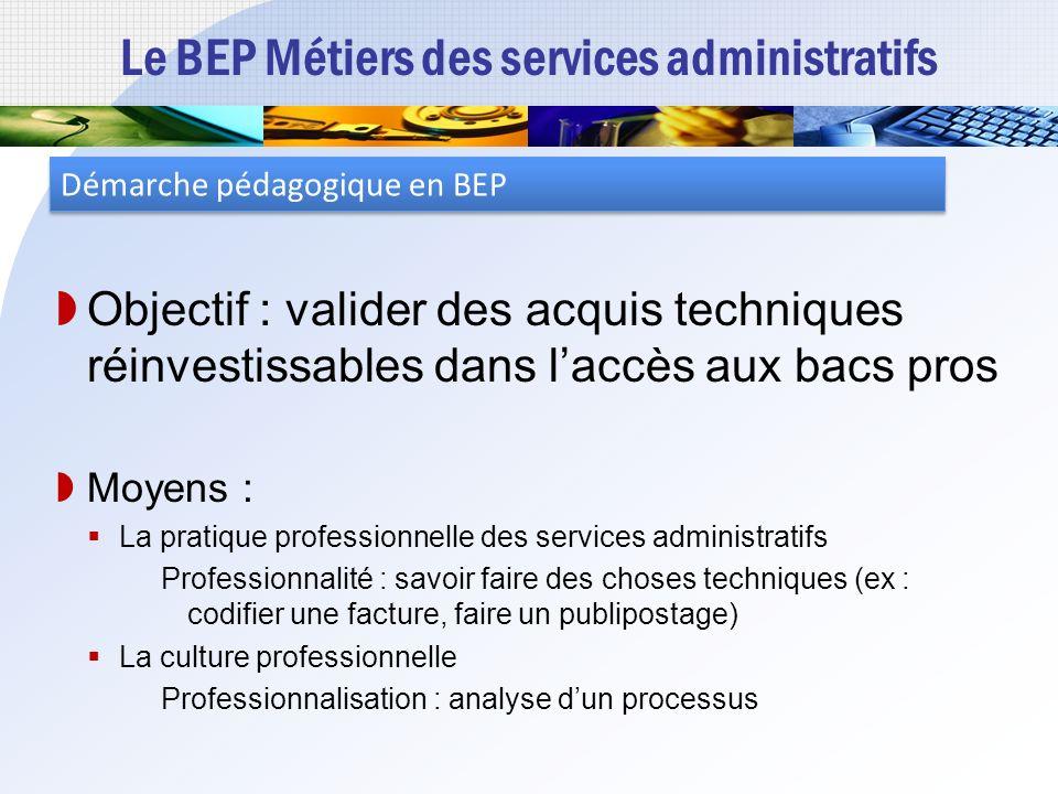 Le BEP Métiers des services administratifs Un objectif de professionnalisation Préparer à lacquisition de compétences « métiers » au niveau IV Un RAP