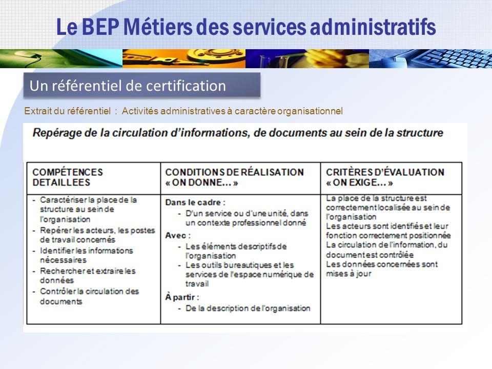 Le BEP Métiers des services administratifs Un référentiel de certification Extrait du référentiel : Activités administratives à caractère organisationnel