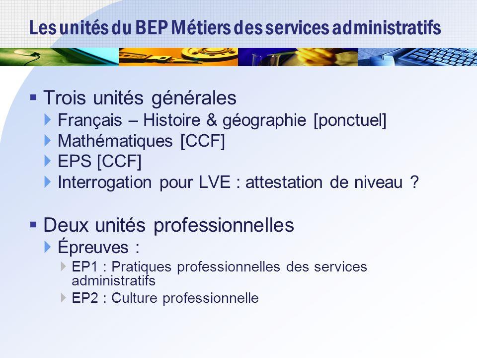 Les unités du BEP Métiers des services administratifs Trois unités générales Français – Histoire & géographie [ponctuel] Mathématiques [CCF] EPS [CCF] Interrogation pour LVE : attestation de niveau .