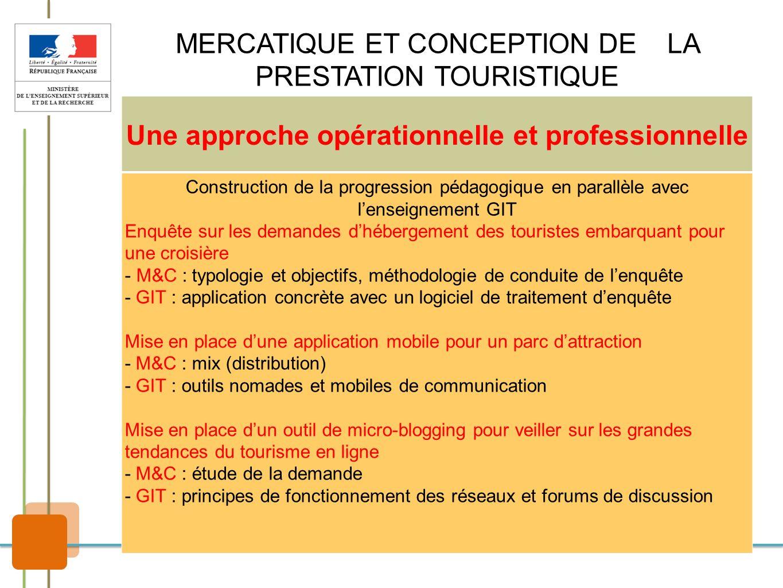 MERCATIQUE ET CONCEPTION DE LA PRESTATION TOURISTIQUE Une approche opérationnelle et professionnelle Construction de la progression pédagogique en par