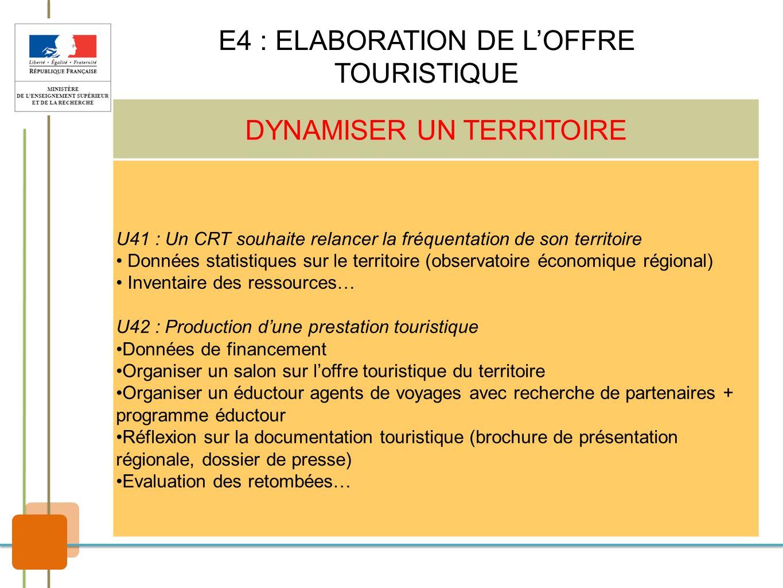 DYNAMISER UN TERRITOIRE U41 : Un CRT souhaite relancer la fréquentation de son territoire Données statistiques sur le territoire (observatoire économi