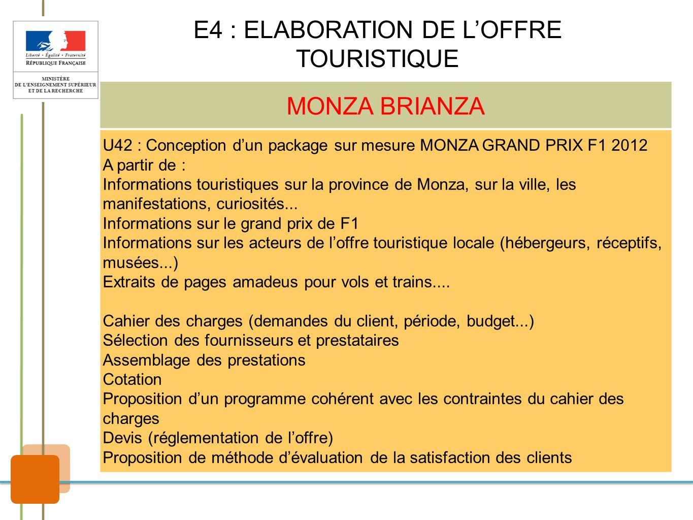 MONZA BRIANZA U42 : Conception dun package sur mesure MONZA GRAND PRIX F1 2012 A partir de : Informations touristiques sur la province de Monza, sur l