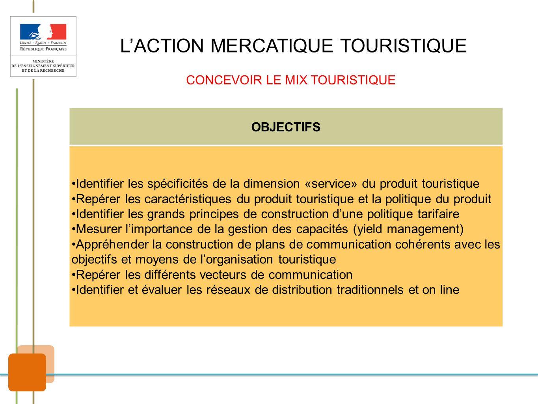 LACTION MERCATIQUE TOURISTIQUE CONCEVOIR LE MIX TOURISTIQUE OBJECTIFS Identifier les spécificités de la dimension «service» du produit touristique Rep
