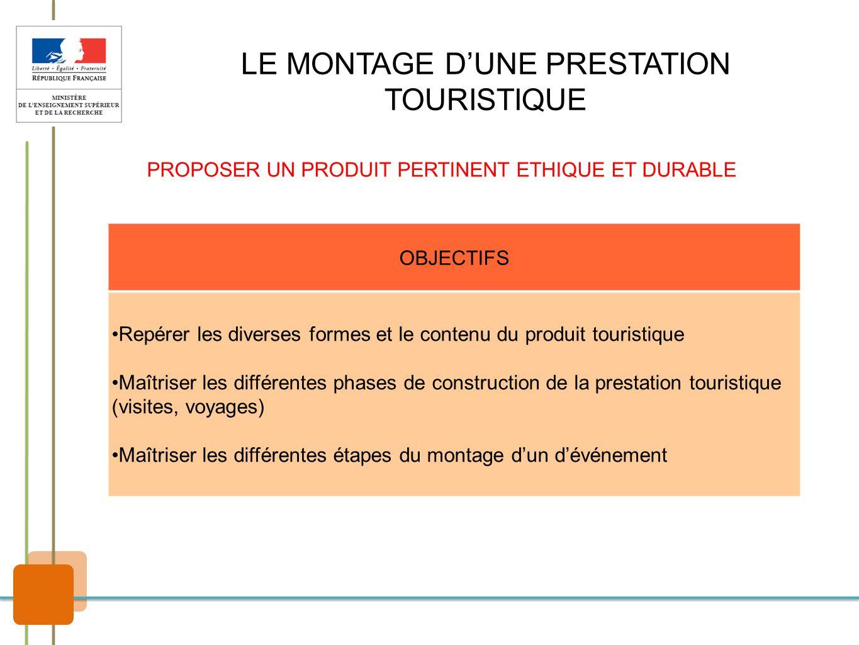 LE MONTAGE DUNE PRESTATION TOURISTIQUE PROPOSER UN PRODUIT PERTINENT ETHIQUE ET DURABLE OBJECTIFS Repérer les diverses formes et le contenu du produit