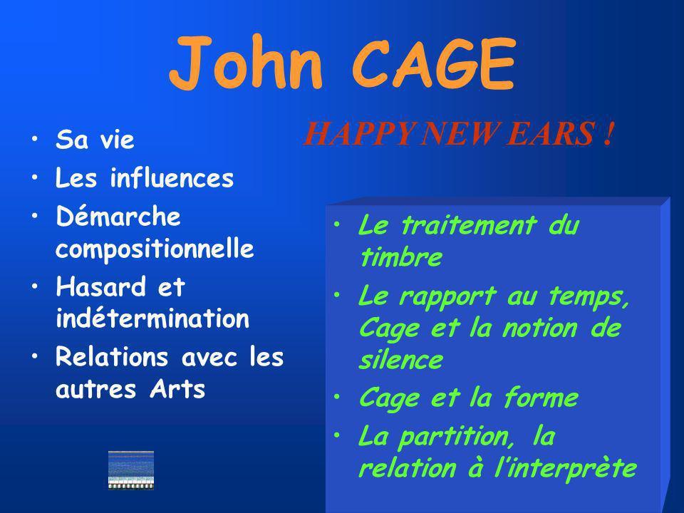 John CAGE Sa vie Les influences Démarche compositionnelle Hasard et indétermination Relations avec les autres Arts Le traitement du timbre Le rapport au temps, Cage et la notion de silence Cage et la forme La partition, la relation à linterprète HAPPY NEW EARS !