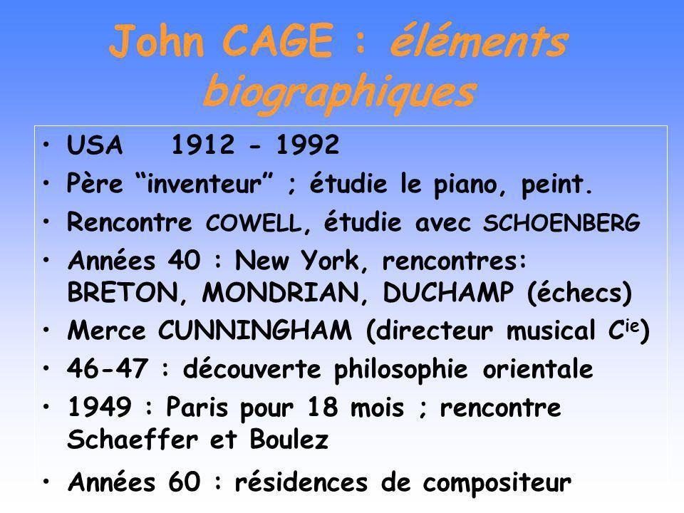 John CAGE Sa vie Les influences Démarche compositionnelle Hasard et indétermination Relations avec les autres Arts Le traitement du timbre Le rapport