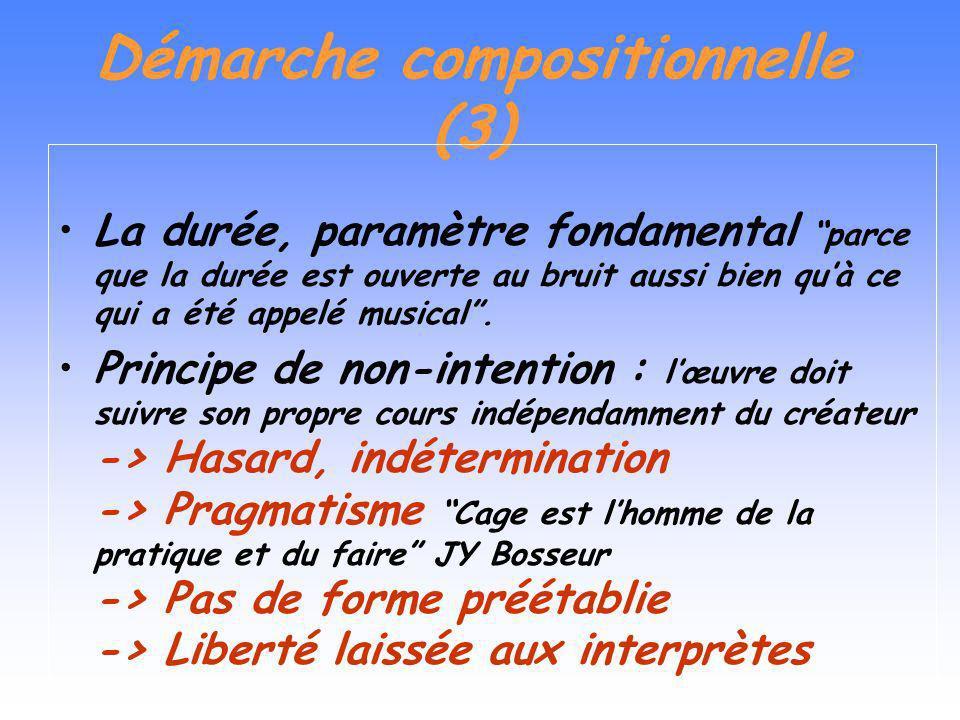 Démarche compositionnelle (2) Deux tendances dans son évolution : > Dune structure vers les processus même de création > Du contrôle au hasard et à li