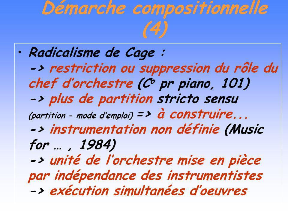 Démarche compositionnelle (4) Radicalisme de Cage : -> restriction ou suppression du rôle du chef dorchestre (C o pr piano, 101) -> plus de partition stricto sensu (partition - mode demploi) => à construire...