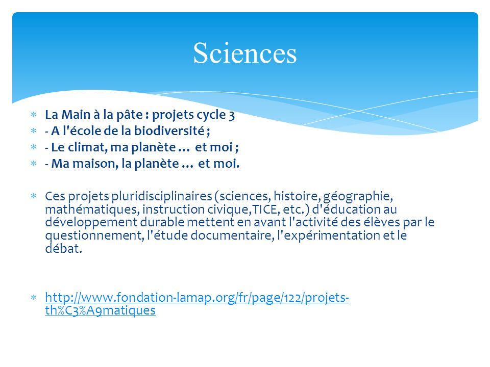 La Main à la pâte : projets cycle 3 - A l'école de la biodiversité ; - Le climat, ma planète … et moi ; - Ma maison, la planète … et moi. Ces projets
