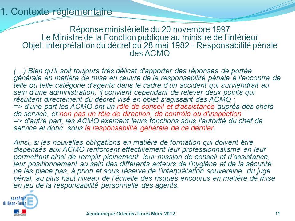 Académique Orléans-Tours Mars 201211 (…) Bien quil soit toujours très délicat dapporter des réponses de portée générale en matière de mise en œuvre de