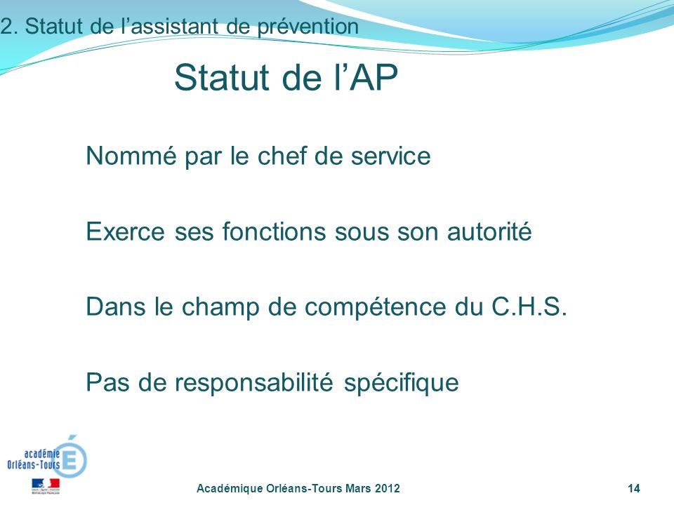 14 Académique Orléans-Tours Mars 201214 Statut de lAP Nommé par le chef de service Exerce ses fonctions sous son autorité Dans le champ de compétence
