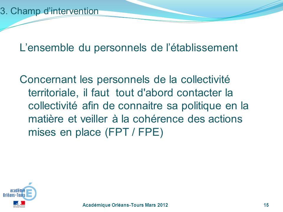 Académique Orléans-Tours Mars 201215 3. Champ dintervention Lensemble du personnels de létablissement Concernant les personnels de la collectivité ter
