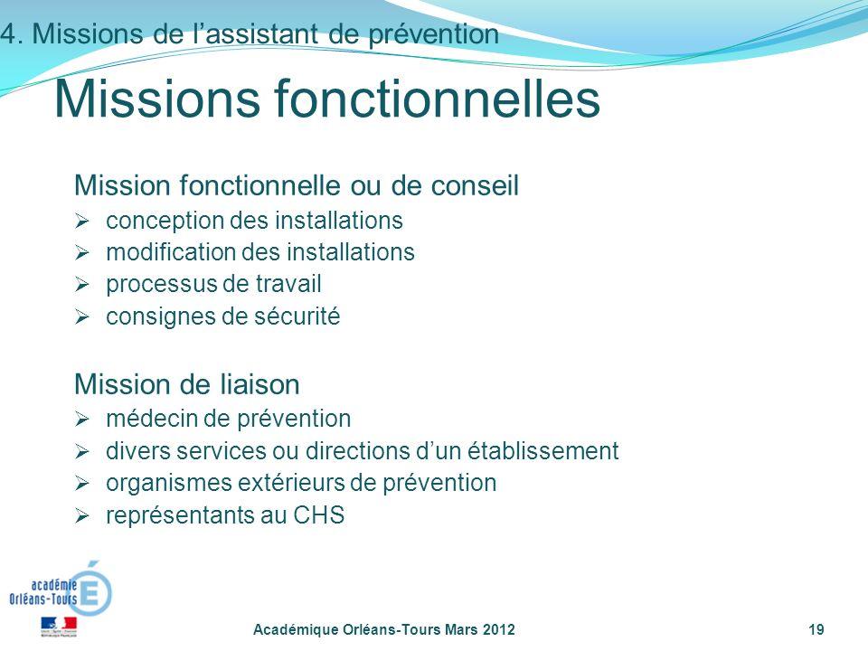 Académique Orléans-Tours Mars 201219 Mission fonctionnelle ou de conseil conception des installations modification des installations processus de trav