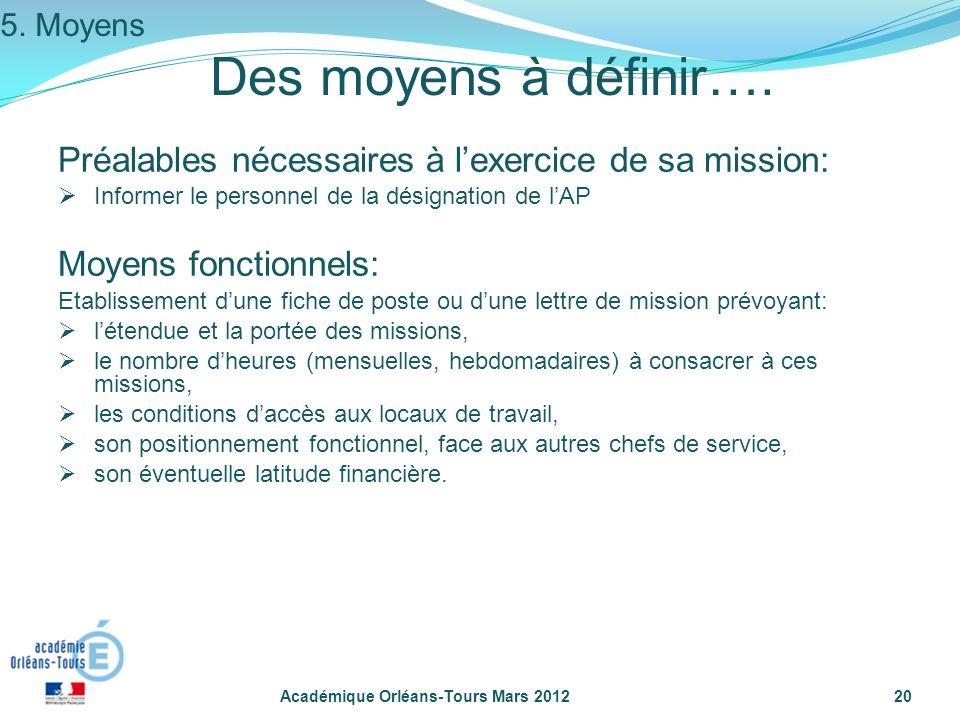 Académique Orléans-Tours Mars 201220 Des moyens à définir…. Préalables nécessaires à lexercice de sa mission: Informer le personnel de la désignation