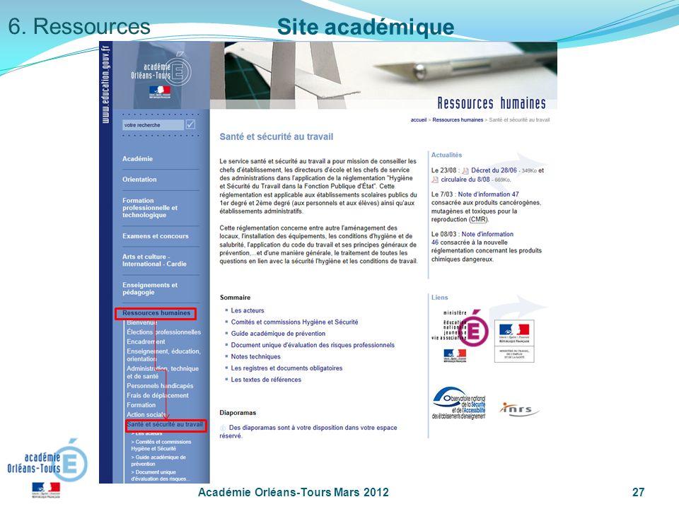 Académie Orléans-Tours Mars 201227 6. Ressources Site académique
