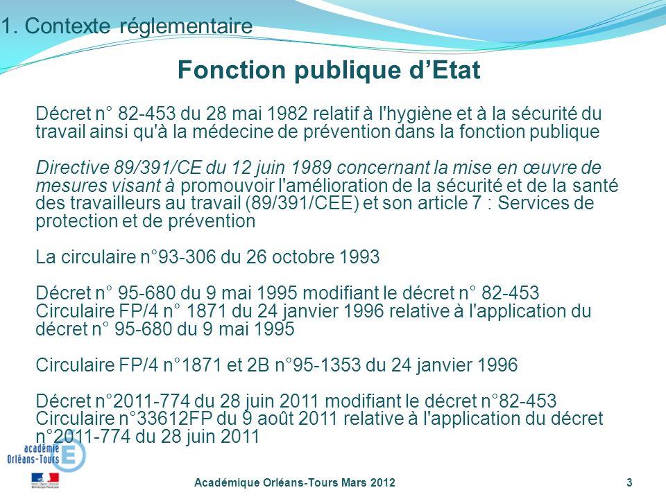 Académique Orléans-Tours Mars 20123 Décret n° 82-453 du 28 mai 1982 relatif à l'hygiène et à la sécurité du travail ainsi qu'à la médecine de préventi