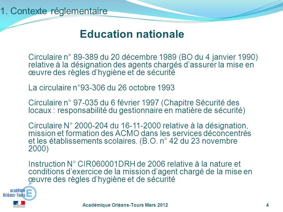Académique Orléans-Tours Mars 20124 Circulaire n° 89-389 du 20 décembre 1989 (BO du 4 janvier 1990) relative à la désignation des agents chargés dassu