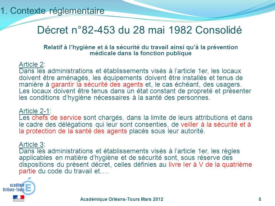 Académique Orléans-Tours Mars 20125 Relatif à lhygiène et à la sécurité du travail ainsi quà la prévention médicale dans la fonction publique Article