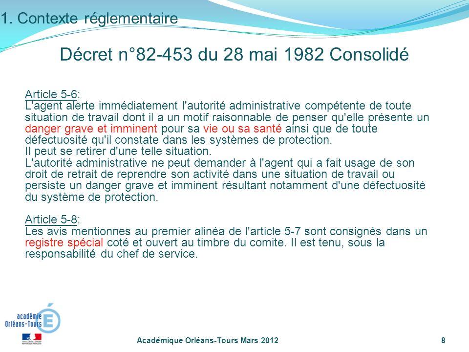 Académique Orléans-Tours Mars 20128 Article 5-6: L'agent alerte immédiatement l'autorité administrative compétente de toute situation de travail dont